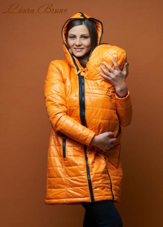 LAURA BRUNO Куртка демисезонная 3 в 1 оранжевая для беременных и слингоношения